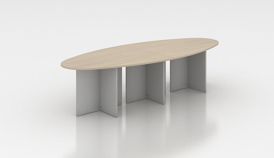 Table de réunion ovale 300 cm acacia clair Erika II