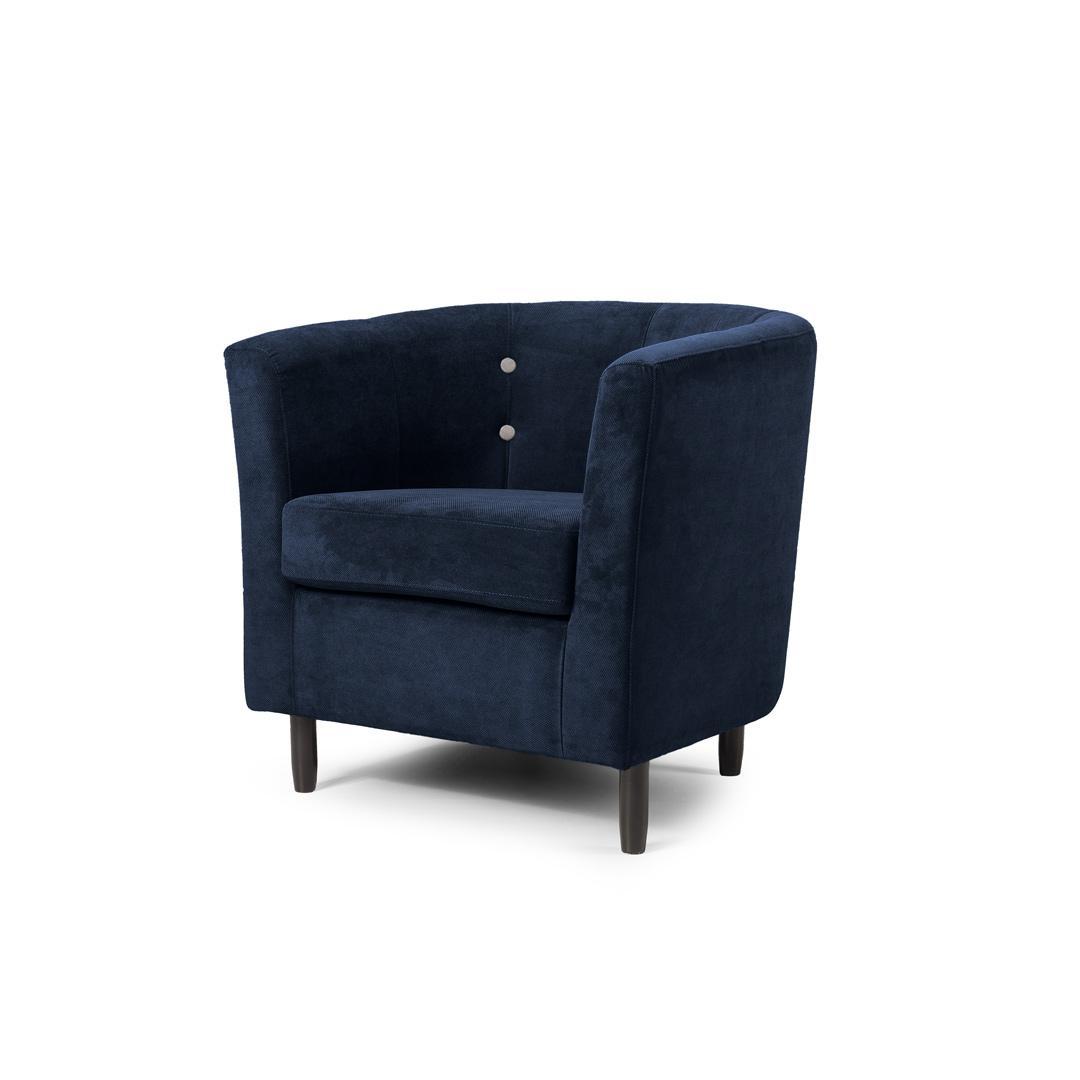 Fauteuil cabriolet contemporain en tissu bleu Jerrico