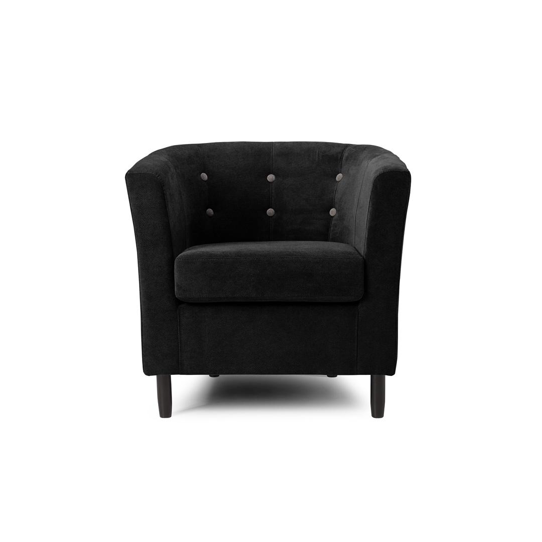 Fauteuil cabriolet contemporain en tissu noir Jerrico