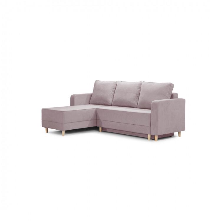 Canapé d'angle convertible reversible en tissu bois de rose Virginia