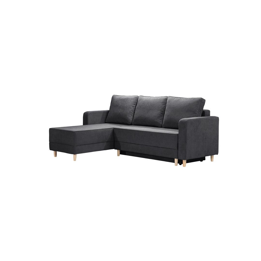 Canapé d'angle convertible reversible en tissu noir Virginia