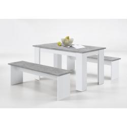 Ensemble contemporain table et bancs coloris blanc/béton Oléron