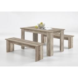 Ensemble contemporain table et bancs coloris chêne moyen Oléron