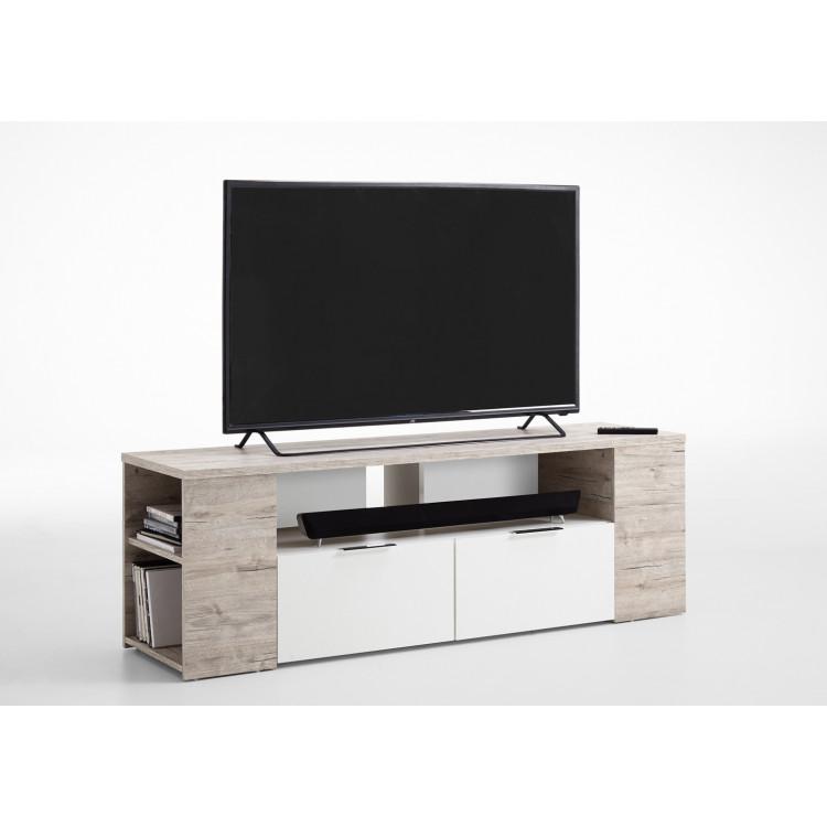 sélection premium 168c9 f4f70 Meuble TV contemporain 150 cm blanc/chêne sable Silvio
