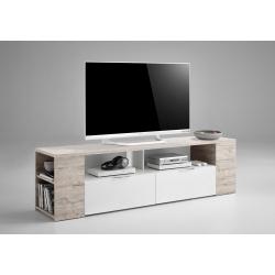 Meuble TV contemporain 180 cm blanc/chêne sable Silvio II