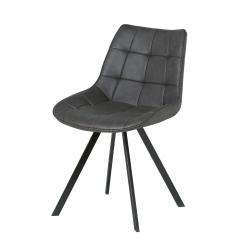 Chaise de salle à manger design en PU gris (lot de 4) Lucine