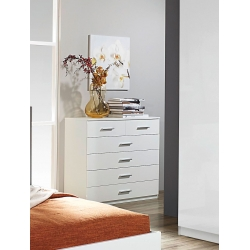 Commode contemporaine 6 tiroirs coloris blanc Laurana