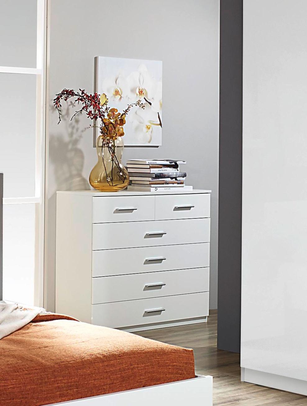 Commode contemporaine 6 tiroirs coloris blanc Laurana