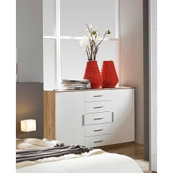 Commode contemporaine 2 portes/5 tiroirs chêne/blanc brillant Laurana