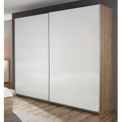 Armoire contemporaine portes coulissantes chêne/blanc brillant Laurana