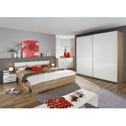 Chambre adulte contemporaine chêne/blanc brillant Laurana
