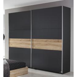 Armoire contemporaine portes coulissantes chêne/gris métallique Orchidee