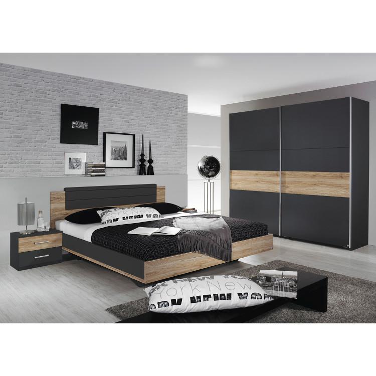 Chambre adulte contemporaine chêne/gris métallique Orchidee