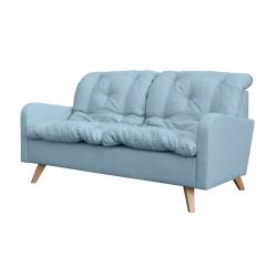 Canapé fixe contemporain 2 places en tissu bleu clair Carole