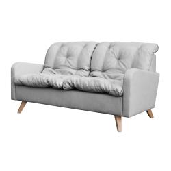 Canapé fixe contemporain 2 places en tissu gris Carole