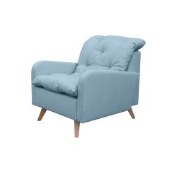 Fauteuil fixe contemporain en tissu bleu clair Carole
