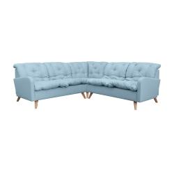 Canapé d'angle fixe contemporain en tissu bleu clair Carole