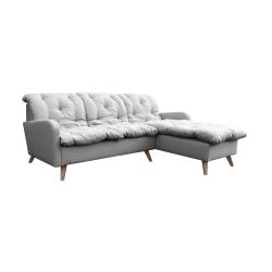 Canapé d'angle fixe réversible contemporain 216 cm en tissu gris Carole