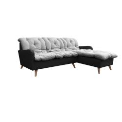 Canapé d'angle fixe réversible contemporain 216 cm en tissu gris/anthracite Carole
