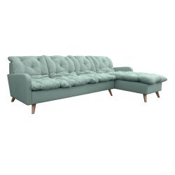 Canapé d'angle fixe réversible contemporain 280 cm en tissu vert clair Carole
