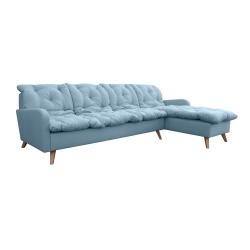 Canapé d'angle fixe réversible contemporain 280 cm en tissu bleu clair Carole