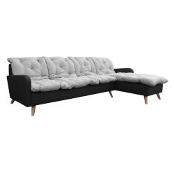 Canapé d'angle fixe réversible contemporain 280 cm en tissu gris/anthracite Carole