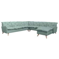 Canapé d'angle fixe panoramique contemporain en tissu vert clair Carole