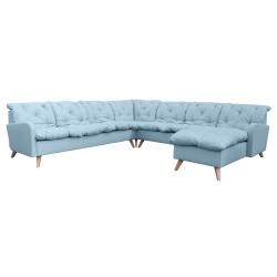 Canapé d'angle fixe panoramique contemporain en tissu bleu clair Carole