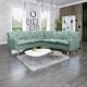 Canapé d'angle fixe contemporain en tissu vert clair Carole II