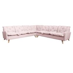 Canapé d'angle fixe contemporain en tissu rose Carole II