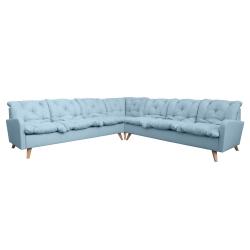 Canapé d'angle fixe contemporain en tissu bleu clair Carole II