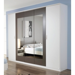 Armoire adulte contemporaine 226 cm blanc/gris Mendosa