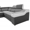 Canapé d'angle fixe contemporain tissu gris/PU blanc Helvesia