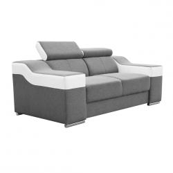 Canapé fixe 2 places contemporain en tissu gris et PU blanc Helvesia