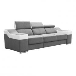 Canapé fixe 3 places contemporain en tissu gris et PU blanc Helvesia
