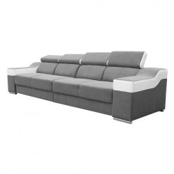 Canapé fixe 4 places contemporain en tissu gris et PU blanc Helvesia