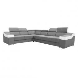 Canapé d'angle fixe contemporain en tissu gris et PU blanc Helvesia II