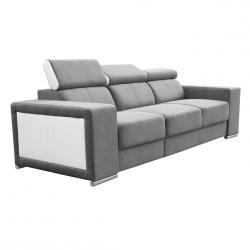 Canapé fixe 3 places contemporain en tissu gris et PU blanc Electra