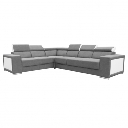 Canapé d'angle fixe contemporain en tissu gris et PU blanc Electra II