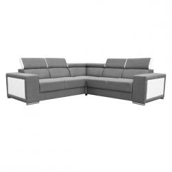 Canapé d'angle fixe contemporain en tissu gris et PU blanc Electra