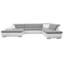 Canapé d'angle panoramique convertible contemporain en tissu gris/PU blanc Clermont