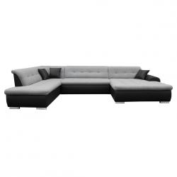 Canapé d'angle panoramique convertible contemporain en tissu gris/PU noir Clermont