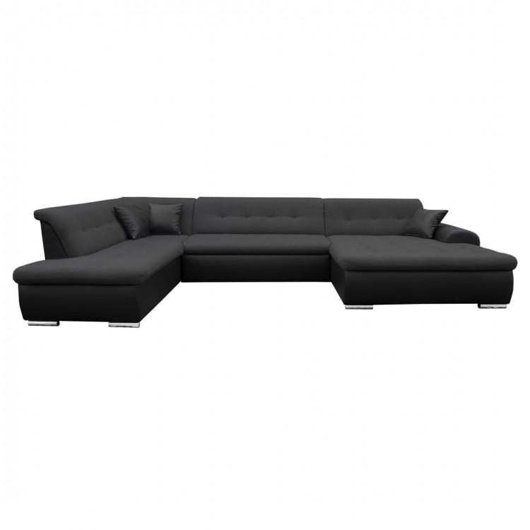 Canapé d'angle panoramique convertible contemporain en tissu anthracite et PU noir Clermont