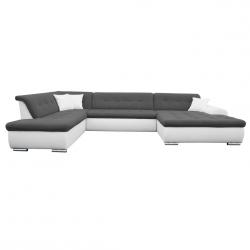 Canapé d'angle panoramique convertible contemporain en tissu anthracite/PU blanc Clermont