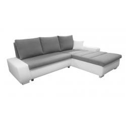 Canapé d'angle convertible contemporain en tissu gris/PU blanc Baltimore