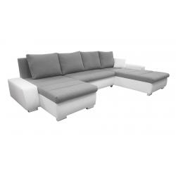 Canapé d'angle panoramique convertible contemporain en tissu gris/PU blanc Baltimore