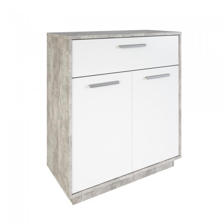 Meuble de rangement contemporain 2 portes/1 tiroir blanc/béton Sismo