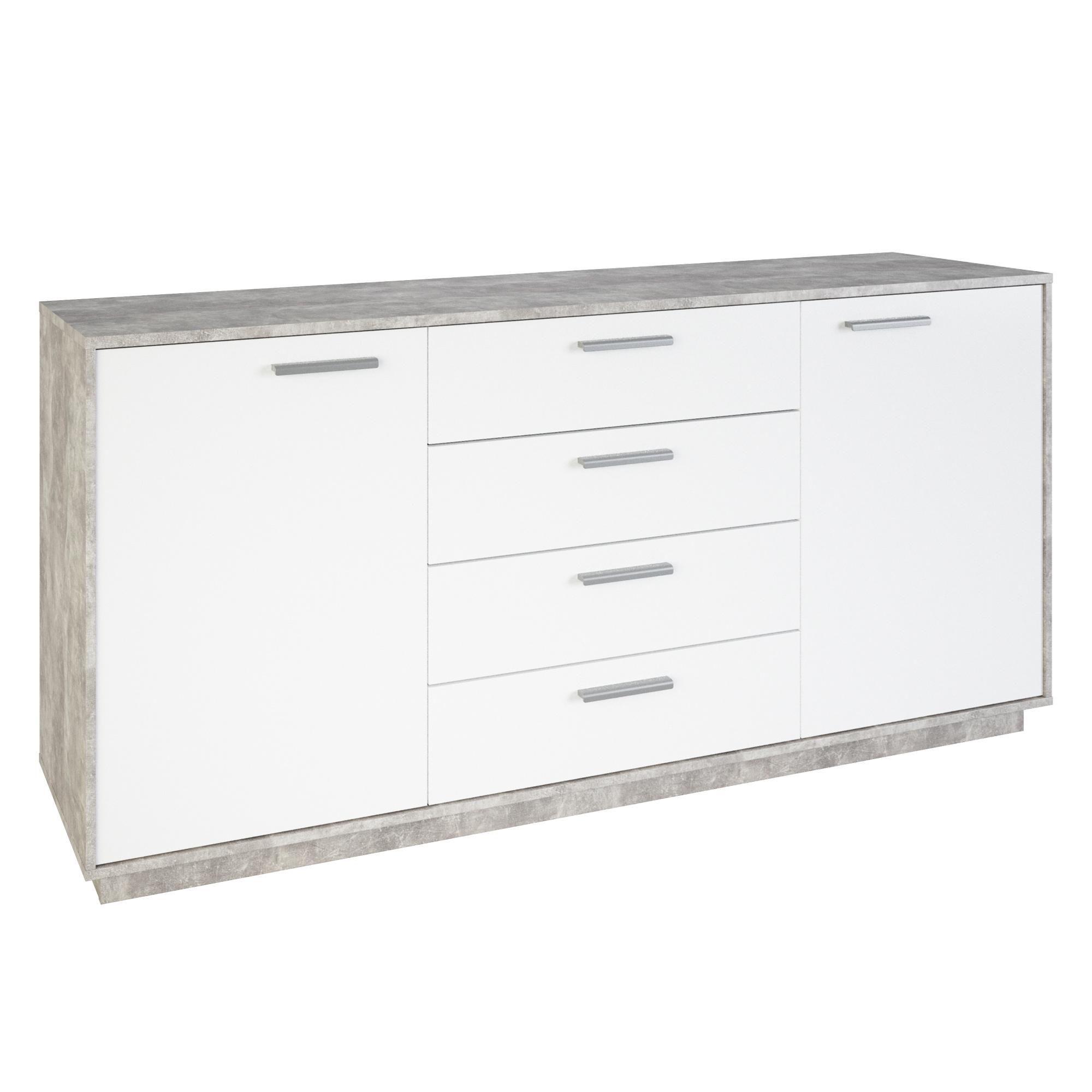 Meuble de rangement contemporain 2 portes/4 tiroirs blanc/béton Sismo II