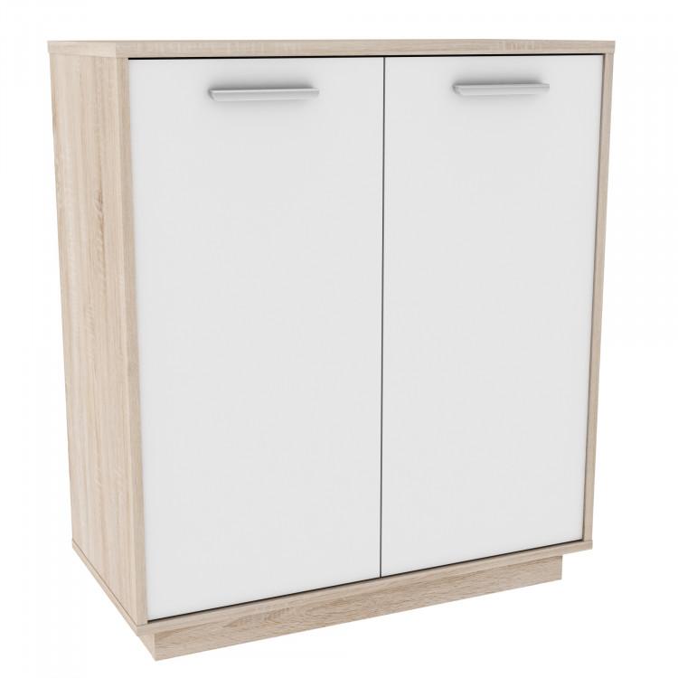 Meuble de rangement contemporain 2 portes chêne brossé/blanc Sismo