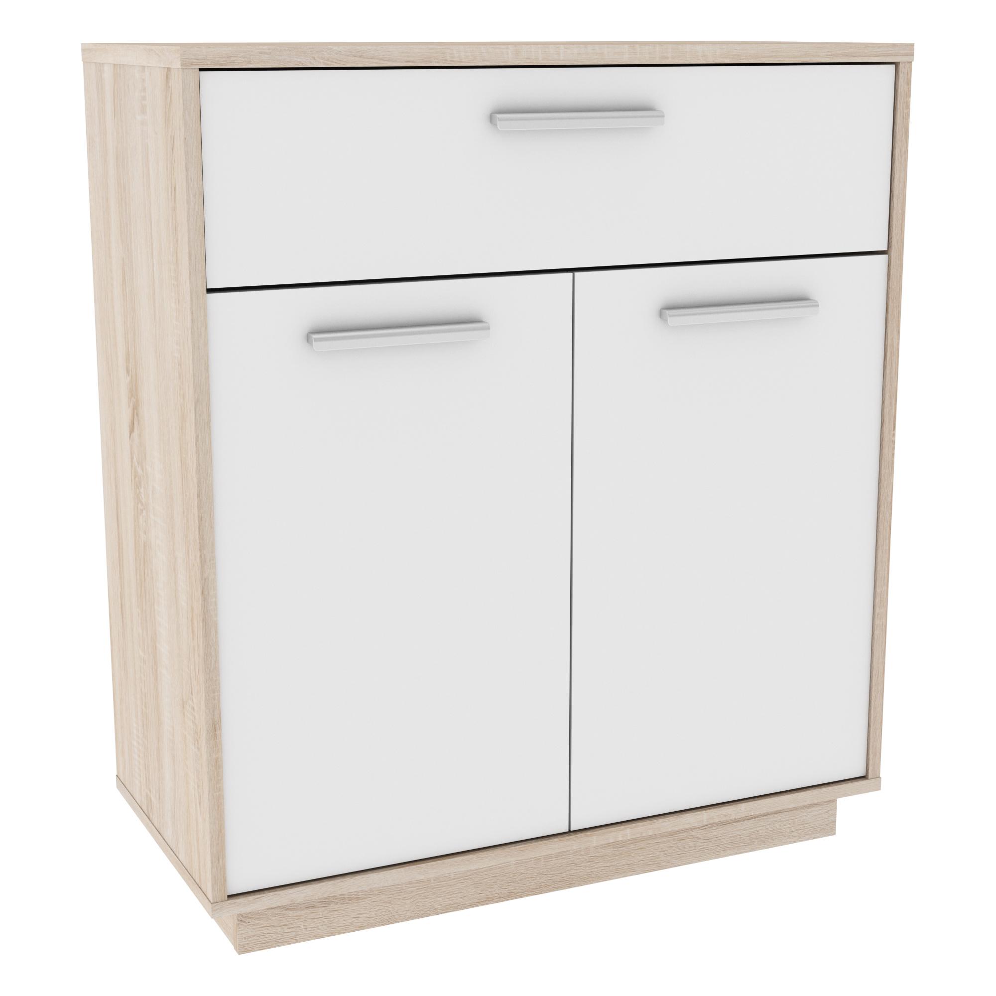 Meuble de rangement contemporain 2 portes/1 tiroir chêne brossé/blanc Sismo